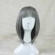 Fashion Japanese Harajuku Zippe Short Grey Lolita Cosplay Wig + Free Wig Cap