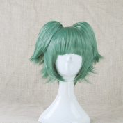 Assassination Classroom Kayano Kaede Green Cosplay Costume Wig + 2 Ponytails