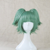 Assassination Classroom Kayano Kaede Green Cosplay Costume Wig + 2 Ponytails