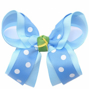 Girls Blue White Polka Dotted Grosgrain Bow Alligator Hair Clippie