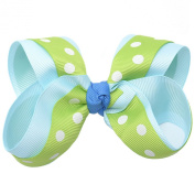 Girls Green White Polka Dotted Grosgrain Bow Alligator Hair Clippie