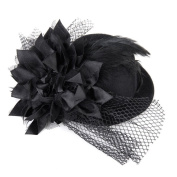 Kalevel® Flower Hair Clip Feather hair clip Punk Mini Top Hat With Clips and Veil for Girls Women