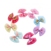 Oumei Girls' Soft Sparkle Bow Hair Clips 8cm Size (8pcs Per Pack)