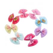 Oumei Girls' Soft Sparkle Bow Hair Clips 8cm Size (8pcs Per Pack)