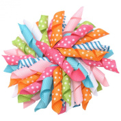 Girls Multi Colour Bright Korker Curled Ribbon Alligator Hair Clippie