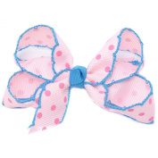 Girls Light Pink Polka Dotted Grosgrain Bow Alligator Hair Clippie