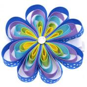 Girls Blue Grosgrain Flower Glittery Centre Alligator Hair Clippie
