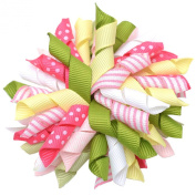Girls Pink Yellow Green Korker Curled Ribbon Alligator Hair Clippie