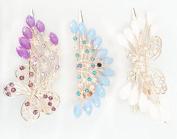 Elife Pack of 3 Random Colour Rhinestone Single Prong Hair Clip Hairpins Beauty Tool