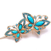 YMX Women's Vintage Crystal Phoenix Peacock Hair Clip Blue