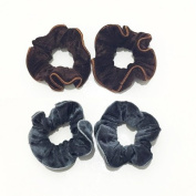 2 Pairs Brown and Grey Velvet Elastic Hair Tie Band Ponytail Holder, Hair Accessories, Hair Rubber Bands
