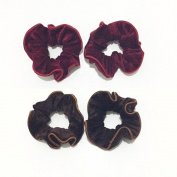 2 Pairs Red and Brown Velvet Elastic Hair Tie Band Ponytail Holder, Hair Accessories, Hair Rubber Bands