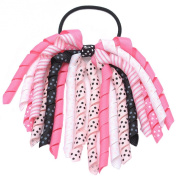 Girls Pink White Korker Bow Grosgrain Curled Ribbon Pony Holder