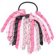 Girls Pink White Korker Bow Grosgrain Curled Ribbon Pony Holder
