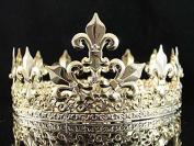 Janefashions Full King's Gold Metal Crown Austrian Rhinestone Crystal Fleur-de-lis T1876g