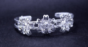 Exquisite Bridal Wedding Rose Crystal Silver Cuff Bangle