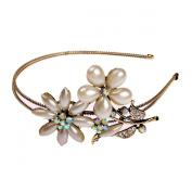 Ulike2 Boutique Wedding Gold-tone Flower Pearl Bead Crystal Rhinestone Headband Hair Piece Bridal Accessories