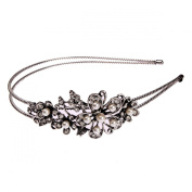 Bridal Wedding Jewellery Crystal Rhinestone Pearl Duo Flowers Headband