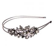 Bridal Wedding Jewellery Crystal Rhinestone Pearl Duo Flowers Headband