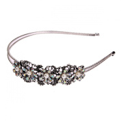 Black Metal Shining Rhinestone Pearl Flower Bunch Retro Flapper Fashion Hair Headband