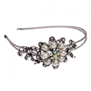 Fashion Bridal Flower Ivory Colour Pearl Clear Austrian Crystal Rhinestone Headband for Wedding Party