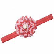 Girls Red Chevron Stripe Flower Rhinestone Stretchy Hairband Hair Accessory