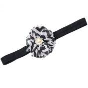Girls Black Chevron Stripe Flower Rhinestone Stretchy Hairband Hair Accessory