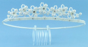 Charming Crown of Lustrous Pearls Accented with Austrian Crystal Rhinestones for Communion, Flower Girl, Mini-Bride and Other Special Occasions #854B0iv