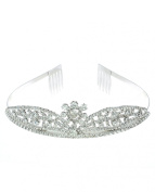 NYfashion101 Rhinestone Studded Centre Floral Crown Tiara NHTY3313SCLY