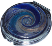 Lampwork Glass Double Sided Cosmetic Compact Mirror 62mm + FREE GIFT BAG