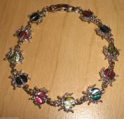 Genuine Paua Shell Ladybug Bracelet - Multi-Coloured