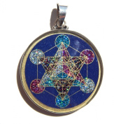 Sacred Geometry Metatron's Cube Pendant in lapis lazuli and crystals