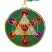 Sacred Geometry Metatron's Cube Pendant in malachite and crystals