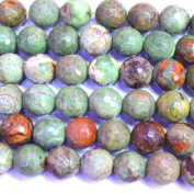 Faceted Natural African Green Opal Round 12mm Gemstone Loose Beads Jewerly Making Findings