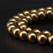 BRCbeads Gorgeous Natural Gold Plated Hematite Gemstone Round Loose Beads 4mm Approxi 15.5 inch 88pcs 1 Strand per Bag for Jewellery Making