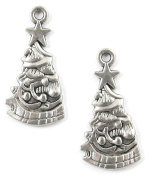 Silver Metal Holiday Charms-DECORATED CHRISTMAS TREE 13x26mm