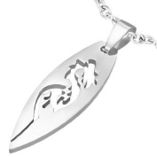 1 Pendant - 316L Stainless Steel surfboard shape cut dragon pendant - ST005F