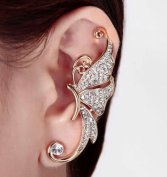 Silver Butterfly Crystal Rhinestone Ear Cuff Clip Cartilage Ear Cuff Earring Accessory