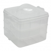 Adjustable Clear Plastic 3 Layers 18 Compartments Craft Bead Jewellery Storage Box