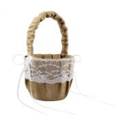 CheckMineOut Khaki Hessian Burlap Lace Flower Baskets Rustic Wedding Party Decoration Favours
