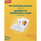 Staples Letter Size Thermal Laminating Pouches, 3 mil, 50 pack