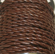 Genuine Leather * High Quality * - 2 Mm - 2 Strands - Twisted - 3 Colours - Natural, Black, Red Brown, Packing of 1 Yard - 5 Yards - 10 Yards in Hank & 25 Yards in Spool (25 Yards, Red Brown