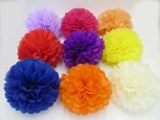 Worldoor® 18PCS Mixed Sizes Cream Ivory Tissue Paper Flower Pom Poms Pompoms Wedding Birthday Party Nursery Decoration