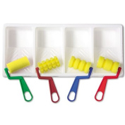 Foam Patterned Rollers with Paint Trays, Four Designs/Pack, Sold as 1 Package, 4 Each per Package