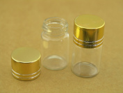 10 Pcs 22x35mm Clear Small Vial Glass Bottles with Golden Aluminium Cap--vol 6.0ml