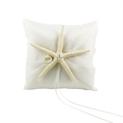 CheckMineOut 20cm x 20cm Ivory Sea Star Starfish Satin Ring Pillow for Beach Themed Wedding Party Favours