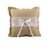 CheckMineOut Khaki Hessian Burlap Lace Bow Square Ring Pillow Rustic Wedding Party Decoration Favours