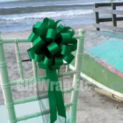 Emerald Green Wedding Pull Bows with Tulle Tails - 20cm Wide, Set of 6