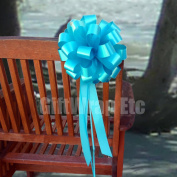 Turquoise Pull Bows with Tails - 20cm Wide, Set of 6