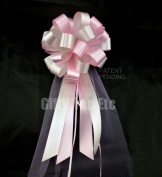 Pink and Silver Wedding Pew Pull Bows with Tulle Tails - 20cm Wide, Set of 6